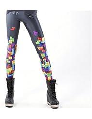 Itas le Pantalon de Jambières et Legging & Le Legging Sexeul à la Mode Stretch Imprimé des Tetris Multicolore en Née de Lait