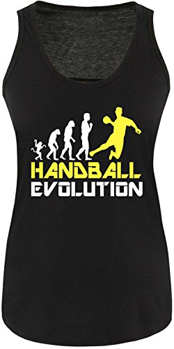 EZYshirt® Handball Evolution Damen Tanktop Schwarz/Weiss/Gelb
