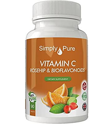 New - Exclusive to Amazon - Simply Pure - Vitamin C - High Strength (1000mg) with Rosehip & Citrus Bioflavonoids - Immune Boost - Antioxidant - 90 Tablets (Gluten Free) 100% Moneyback Guarantee