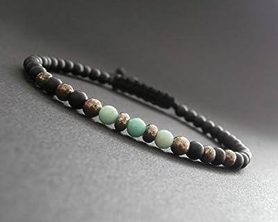 Bracelet fin homme, pierres naturelles, opale verte, pyrite et onyx noir mat