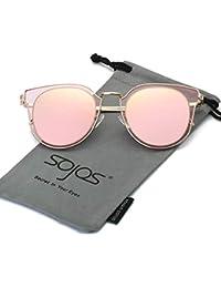SojoS Fashion Polarized Sunglasses UV Mirrored Lens Oversize Metal Frame SJ1057
