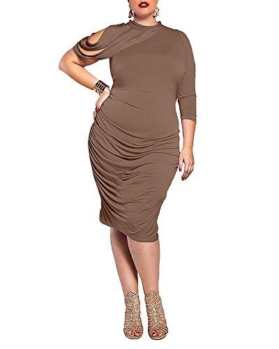 SaiDeng Femmes Elegantes Grande Taille Rond Cou Midi Robe Marron