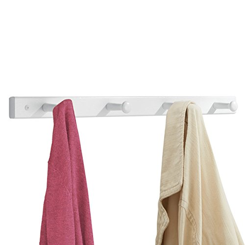 mDesign Hakenleiste aus Holz - Wandgarderobe mit 4 Garderobenhaken - zur Aufbewahrung von Mänteln, Jacken, Schals, Handtüchern - weiß