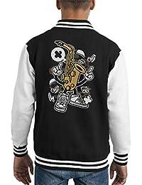 Coto7 Saxophone Man Kids Varsity Jacket