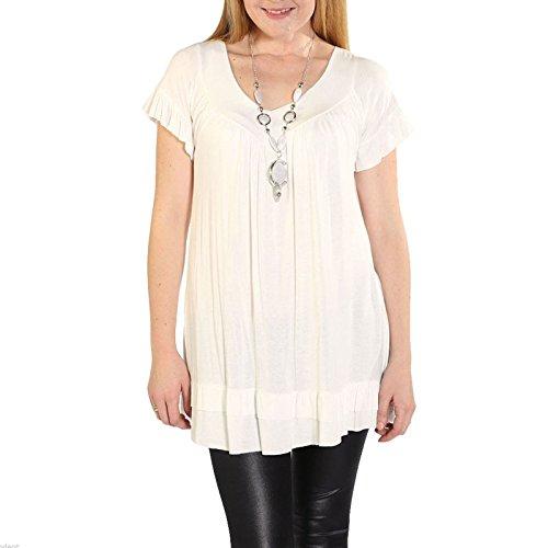 Janisramone Damen T-Shirt, Einfarbig schwarz * Einheitsgröße Cremefarben