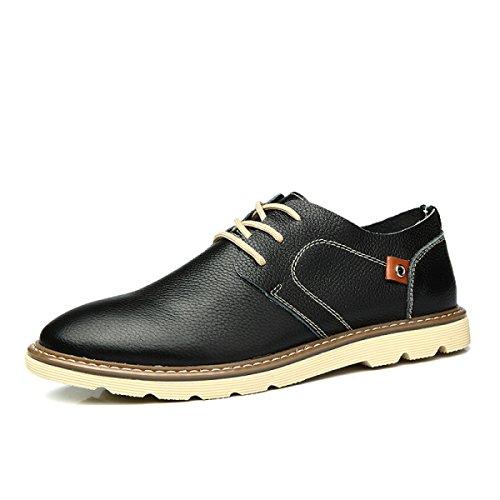 Hommes Derby Chaussures Automne Hiver En Cuir Rétro Anti-dérapant Doux Pointu Chaussures À La Main Oxford Chaussures Black