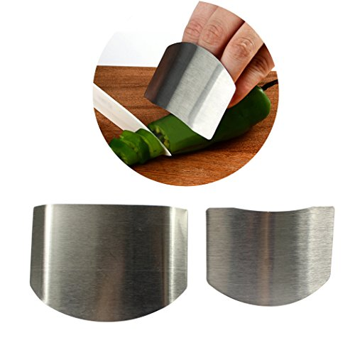 2PCS Finger Guard Slicing Cutting Protector, Stainless Steel Finger Guard & Protector Slicing Kitchen Tool to Protect Your Fingers (Silver) Slicing-tool