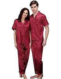 d1fef7891 Pijama Pareja Traje De Pijama Sexy Casual Wear Modernas Casual Hombres N  Hombres Y Mujeres Momme Nightdress Conjunto De Seda Fina De…