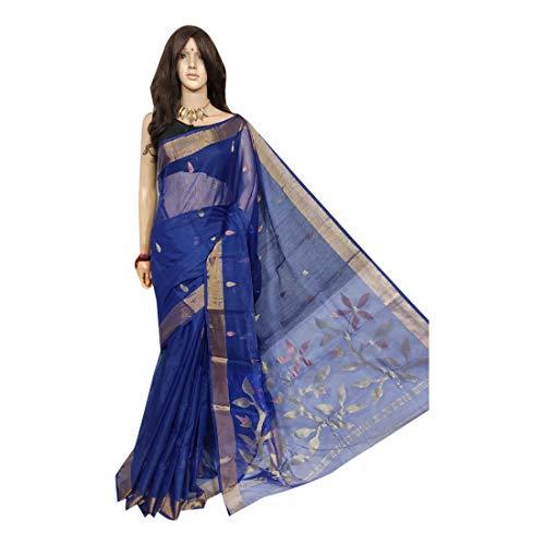 Resham Linen Saree Jamdani Designer Festival indische Frauen Sari mit Bluse West Bengal 604 -