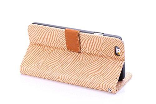 JIALUN-Telefon Fall Premium Zebra Texture PU Ledertasche Brieftasche Pouch Style Case mit Kickstand und Card Slots für iPhone 6 Plus & 6s Plus ( Color : Yellow ) Yellow