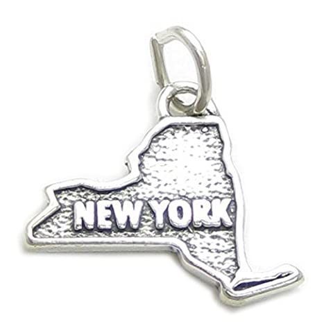 New York map sterling silver charm .925 x1 USA States of America charms CF1-NY