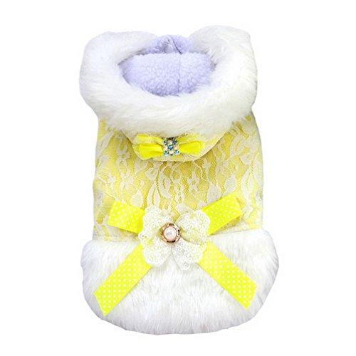 Florale Fleece Hoodie (SELMAI Kleine Hunde Baumwolle Weste Fleece Gefüttert Hoodie ärmellos floral Schleife Spitze Daunen Winter Coat Puppy Katze Kätzchen Hund Chihuahua Yorkie Kleidung Outfits Apparel Gelb XL)