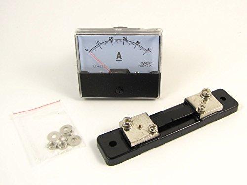 Analog Amp Panel Amperemeter Strom Meßgerät DC 0-50A + Shunt Widerstand Amperemeter Shunt