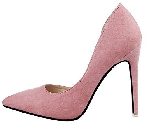 HooH Femmes D'Orsay Pointed Toe Stiletto Escarpins 952-8 Rose
