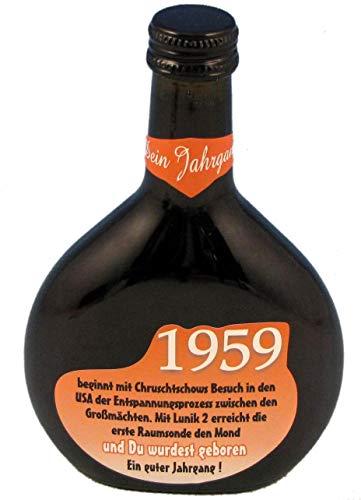 QUATSCHmanufaktur Bocksbeutel zum 60. Geburtstag (für Jahrgang 1959) Rotwein 0,25 l
