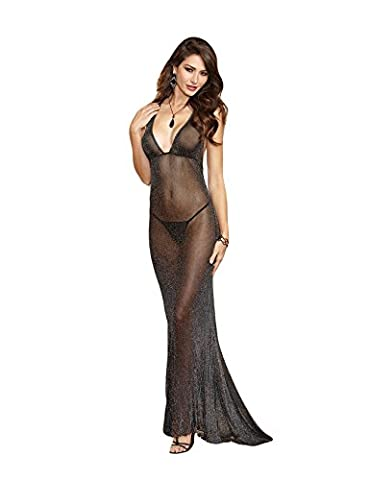 Bestgift Women's Deep V-Neck Backless String Long Nightgown Black One Size