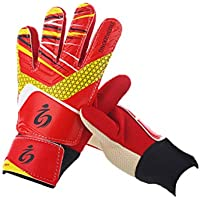 Children Soccer Goal Keeper Sports Niños/Jóvenes Basic Fútbol portero/jugador Guantes + Protector Para PATA de S1010, color rojo, tamaño 7
