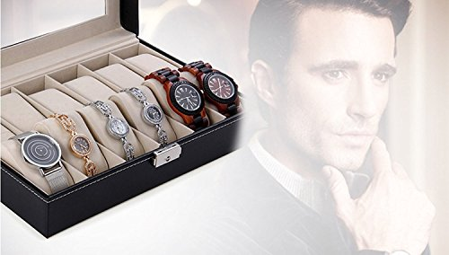 New-Qualified-12-Slots-Wrist-Watches-Jewelry-Display-Storage-Organizer-Leather-Box-Case-Color-as-available