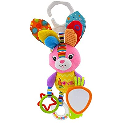 HMELOVE Baby Toys Rabbit Infant Stroller Toys Washable Squeaker Car Toys, Kids Hanging Toy for Crib with Rattle Ring, Mirror for Self Discovery, Teethers