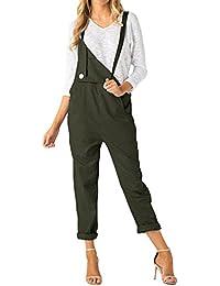 ACHIOOWA Mujer Peto Elegante Casual Largo Suelto Mono Bolsillos Tirantes Fiesta Noche Oficina Pantalones