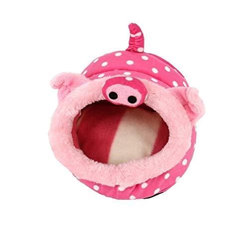 Fully Meerschweinchen Schlafhaus Schlaufen Haus Tasche Matte Decke Kissen Hase Bett Hamster Kleintiere Chinchilla (Größe: 23x21x17cm/9x8.2x6.7, Schwein)