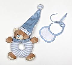 Idea Regalo - La chiocciolina orsetto sonaglio azzurro con bavaglia decorativa in tela aida