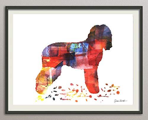 irish water spaniel Rasse Hunde Hunderasse Fine Art Print Aquarell Silhouette Profil Poster Kunstdruck Plakat modern ungerahmt DIN A 4 Deko Wand Bild -