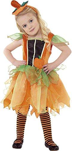 Smiffys, Kinder Mädchen Kürbis-Fee Kostüm, Kleid und Haarreif, Größe: T2 (Kleinkind Medium), (Kleid Up Kostüme Mädchen)