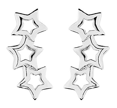 MYA art Damen Ohrstecker Ohrringe Ear Pins Cuff 3 Sterne 925 Sterling Silber MYASIOHR-39