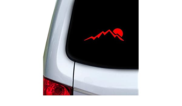 StickAny Car and Auto Decal Series Big Mountain Sunset Sticker for Windows Red Hoods Doors
