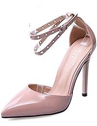 GLTER Mujeres Ankle Strap Pumps Ingenuidad Alone Around The Belt Zapatos de mujer de tacón alto Zapatos de corte Zapatos Flatform , apricot , 39