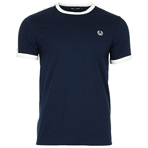 Fred Perry Taped Ringer, Camiseta para Hombre, Azul (Carbon Blue), M