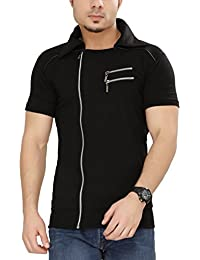 Tees Collection Men's Cotton Half Sleeve Side Zipper Black Color Stylish T-Shirt With Collar