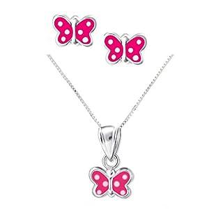 FIVE-D Set Kette Anhänger Ohrringe Kleiner Schmetterling mit Punkten 925 Sterling Silber im Schmucketui