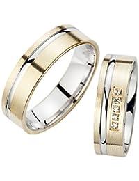 56eb4c5cc5b4 Trau anillos de color blanco amarillo Oro 1 Par Mate pulido con 5 hermosos  brillantes
