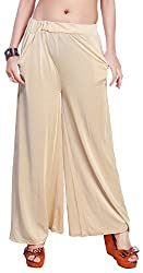 Comix Cotton Lycra Fabric Women Solid Palazzo(AGSPL-3151-IEX-PZ-10-LIGHTBEIGE-L)