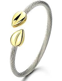 Elástica Ajustable Clásico, Pulsera de Mujer, Brazalete de Acero Inoxidable, Cable de Acero, Plata Oro Dos Tonos