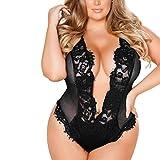 MERICAL Damen Plus Size BH Dessous Sexy Bodysuit siamesed Babydoll Nachtwäsche(Schwarz,XXXXL)