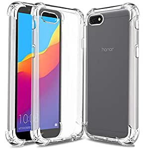 Jkobi Silicon Flexible Protective Shockproof Corner Back Case Cover for Huawei Honor 7s -Transparent