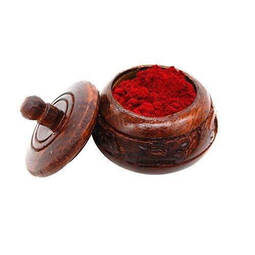IndiaBigShop Wooden Handmade Detailed Carving Kumkum Box, sindur Dabbi, Sindur Organizer, Size 2 Inch