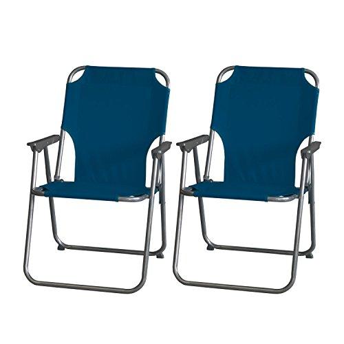 2 Stück Campingstuhl Faltstuhl Anglerstuhl Klappstuhl Strandstuhl faltbarer Gartenstuhl klappbar - Blau