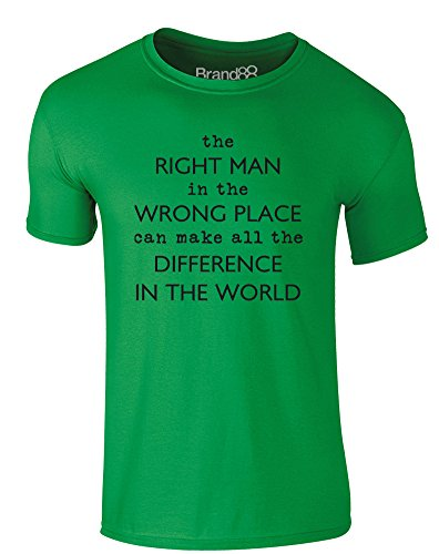 Brand88 - The Right Man in the Wrong Place, Erwachsene Gedrucktes T-Shirt Grün/Schwarz