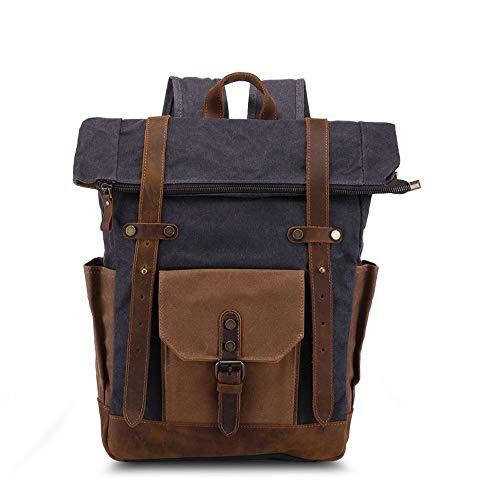 NY-close Vintage Oil Wax Casual Leder Rucksack, wasserdichte Canvas Rucksack Bookbag große lässige Rucksack-geeignet für Universität, Freizeit, Reisen (Kaffee) (Color : Gray)