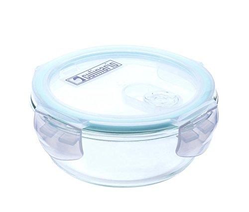 culinario Cloc Frischhaltedose aus Borosilikatglas, 400 ml, rund, mit Mikrowellendeckel, bis 400°C hitzebeständig, luft- und wasserdicht