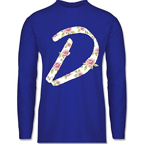 Shirtracer Anfangsbuchstaben - D Rosen - Herren Langarmshirt Royalblau