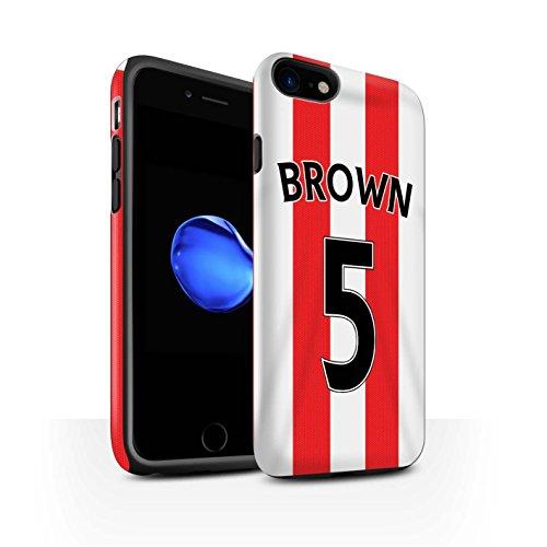 Offiziell Sunderland AFC Hülle / Matte Harten Stoßfest Case für Apple iPhone 7 / Van Aanholt Muster / SAFC Trikot Home 15/16 Kollektion Brown