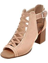 70d0d8bd78b Amazon.es  Beige - Sandalias de vestir   Zapatos para mujer  Zapatos ...