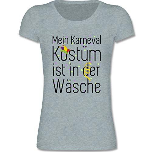 Anlässe Kinder - Mein Karneval Kostüm ist in der Wäsche - 122-128 (7-8 Jahre) - Blau/Grau meliert - F288K - Mädchen T-Shirt