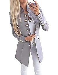 Tomwell Femme Blazer Automne Causal Double Breasted Simple Boucle OL à Manches Longues Veste Blazer Slim Fit Veste Tailleur Cintrée Habillée Costume Jacket Manteau