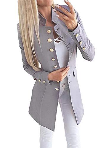 Tomwell Donna Ufficio Tailleur Elegante Corto Blazer Tailleur Giacca Grigio IT 46